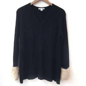 Love riche vneck sweater with fur sleeve cuffs M